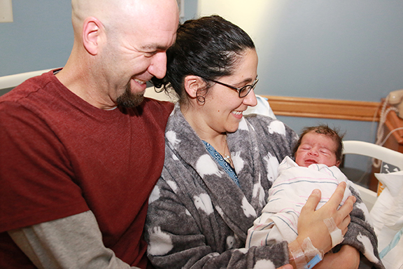 Brett Pacheco and Alexia Orphanides with son Lucas Alexander Pacheco at Tobey Hospital