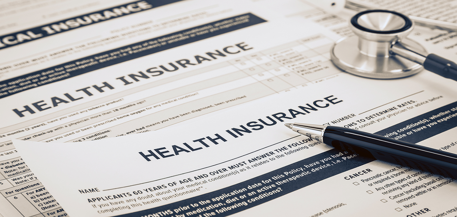 Decorative image of blurred Health insurance information