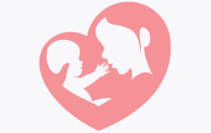 Mother and Baby in a heart shaped outline