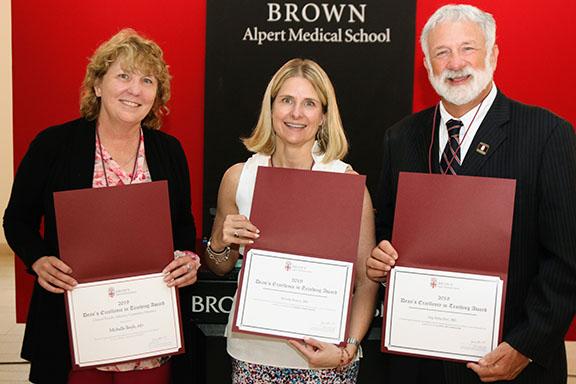 Michelle Boyle, MD, Wendy Regan, MD, of Family Medicine and Jay Schachne MD, Cardiologist, of Southcoast Health at the Warren Alpert Medical School at Brown University's Dean's Excellence in teaching Award ceremony on June 18