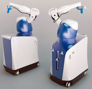 3d render of a medical robotic surgery arm machine
